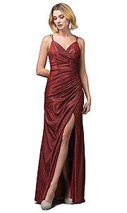 Image of glitter-knit faux-wrap long formal prom dress. Style: DQ-2875 Front Image