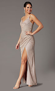 Image of glitter-knit faux-wrap long formal prom dress. Style: DQ-2875 Detail Image 6
