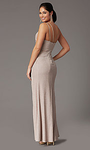 Image of glitter-knit faux-wrap long formal prom dress. Style: DQ-2875 Detail Image 7