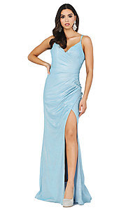 Image of glitter-knit faux-wrap long formal prom dress. Style: DQ-2875 Detail Image 1