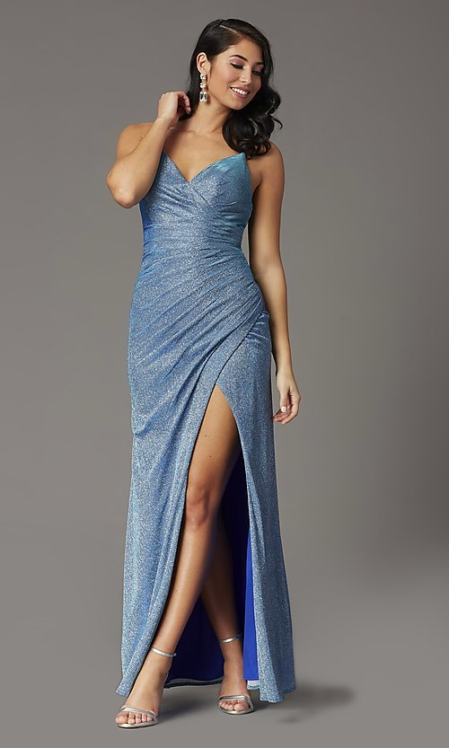Image of glitter-knit faux-wrap long formal prom dress. Style: DQ-2875 Detail Image 2