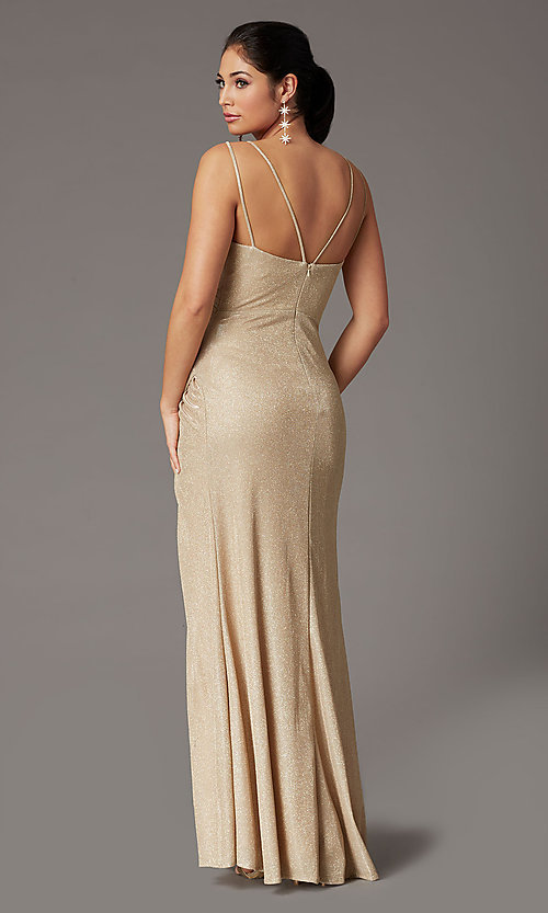 Image of glitter-knit faux-wrap long formal prom dress. Style: DQ-2875 Detail Image 4
