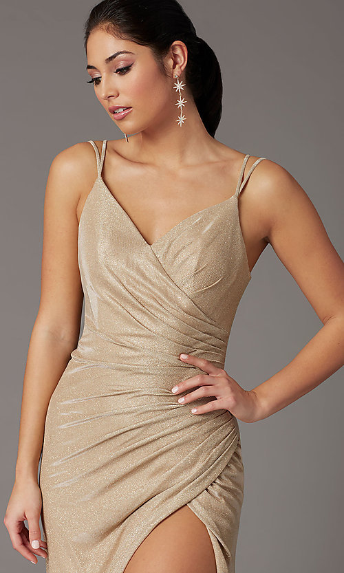 Image of glitter-knit faux-wrap long formal prom dress. Style: DQ-2875 Detail Image 5