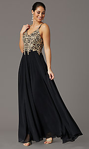 Image of long chiffon v-neck embroidered-bodice prom dress. Style: DQ-2890 Detail Image 4