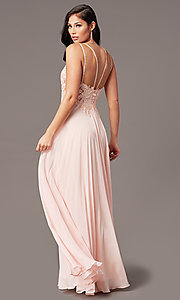 Image of long chiffon v-neck embroidered-bodice prom dress. Style: DQ-2890 Detail Image 7