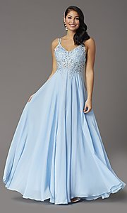 Image of long chiffon v-neck embroidered-bodice prom dress. Style: DQ-2890 Front Image