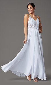 Image of long chiffon v-neck embroidered-bodice prom dress. Style: DQ-2890 Detail Image 8