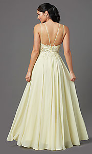 Image of long chiffon v-neck embroidered-bodice prom dress. Style: DQ-2890 Detail Image 3