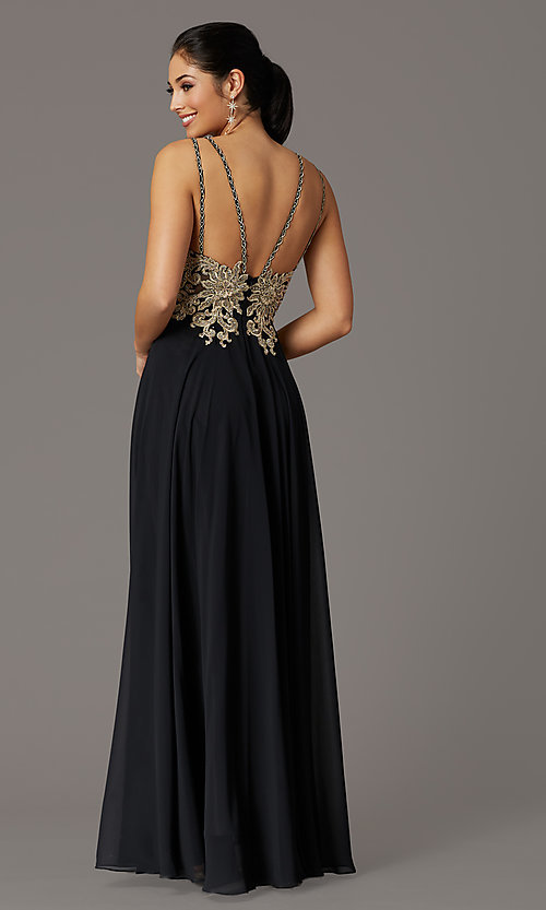 Image of long chiffon v-neck embroidered-bodice prom dress. Style: DQ-2890 Detail Image 5