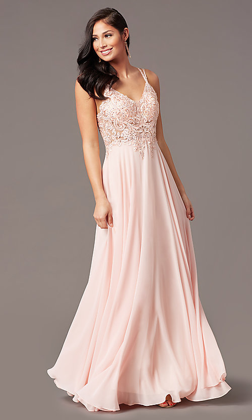 Image of long chiffon v-neck embroidered-bodice prom dress. Style: DQ-2890 Detail Image 6