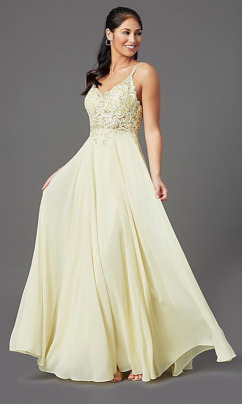 Image of long chiffon v-neck embroidered-bodice prom dress. Style: DQ-2890 Detail Image 2