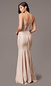 Image of mermaid-style long rose gold glitter prom dress. Style: DQ-2895 Back Image