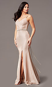 Image of mermaid-style long rose gold glitter prom dress. Style: DQ-2895 Detail Image 3