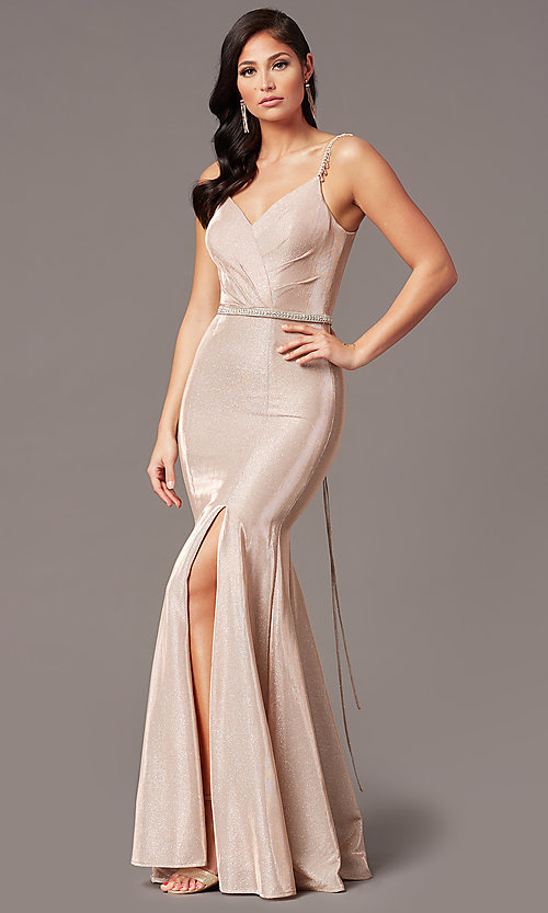 Image of mermaid-style long rose gold glitter prom dress. Style: DQ-2895 Front Image