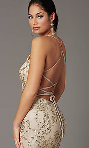 Image of long corset-back sparkly mermaid formal prom dress. Style: DQ-2901 Detail Image 4