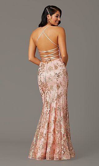 Long Corset-Back Sparkly Mermaid Formal Prom Dress