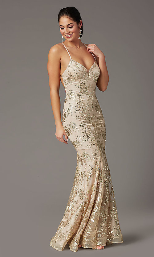 Image of long corset-back sparkly mermaid formal prom dress. Style: DQ-2901 Detail Image 2