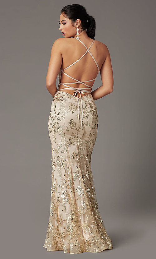 Image of long corset-back sparkly mermaid formal prom dress. Style: DQ-2901 Detail Image 3