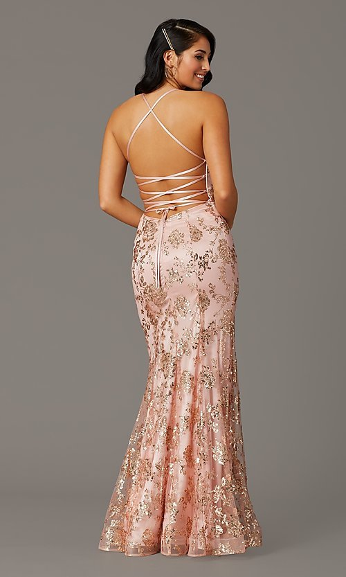Image of long corset-back sparkly mermaid formal prom dress. Style: DQ-2901 Front Image