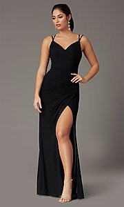 Image of faux-wrap v-neck long prom dress. Style: DQ-2905 Detail Image 7