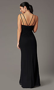 Image of faux-wrap v-neck long prom dress. Style: DQ-2905 Detail Image 8