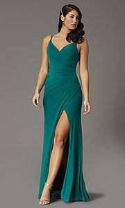 Image of faux-wrap v-neck long prom dress. Style: DQ-2905 Detail Image 5