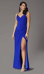Image of faux-wrap v-neck long prom dress. Style: DQ-2905 Front Image