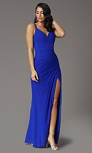 Image of faux-wrap v-neck long prom dress. Style: DQ-2905 Detail Image 1