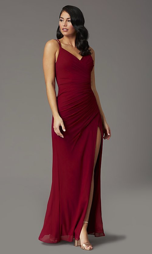 Image of faux-wrap v-neck long prom dress. Style: DQ-2905 Detail Image 3