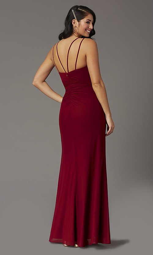 Image of faux-wrap v-neck long prom dress. Style: DQ-2905 Detail Image 4