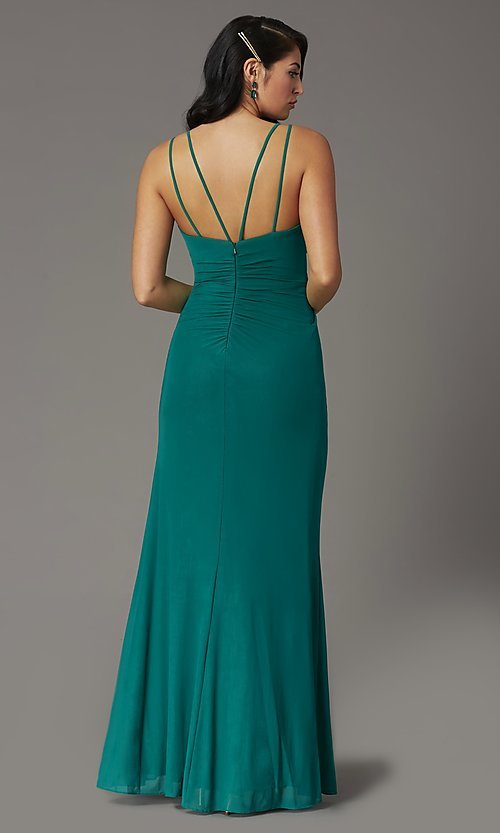 Image of faux-wrap v-neck long prom dress. Style: DQ-2905 Detail Image 6