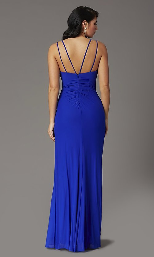 Image of faux-wrap v-neck long prom dress. Style: DQ-2905 Back Image