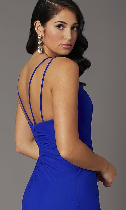 Image of faux-wrap v-neck long prom dress. Style: DQ-2905 Detail Image 2