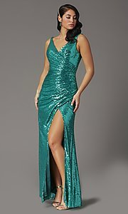 Image of faux-wrap long sequin tight formal prom dress. Style: DQ-2907 Detail Image 3