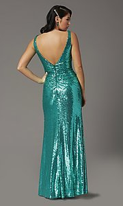 Image of faux-wrap long sequin tight formal prom dress. Style: DQ-2907 Detail Image 4