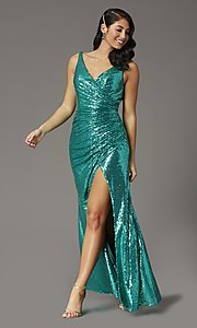Image of faux-wrap long sequin tight formal prom dress. Style: DQ-2907 Detail Image 5