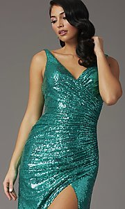 Image of faux-wrap long sequin tight formal prom dress. Style: DQ-2907 Detail Image 6