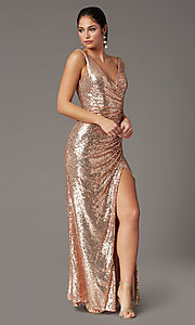 Image of faux-wrap long sequin tight formal prom dress. Style: DQ-2907 Front Image