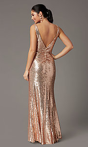 Image of faux-wrap long sequin tight formal prom dress. Style: DQ-2907 Back Image