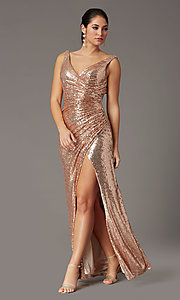 Image of faux-wrap long sequin tight formal prom dress. Style: DQ-2907 Detail Image 2