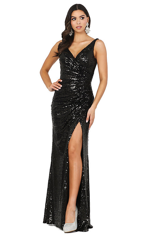 Image of faux-wrap long sequin tight formal prom dress. Style: DQ-2907 Detail Image 7