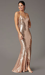 Image of sparkly long sequin formal prom dress in rose gold. Style: DQ-2919 Front Image