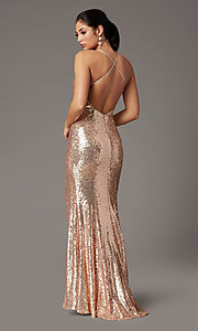 Image of sparkly long sequin formal prom dress in rose gold. Style: DQ-2919 Back Image