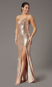 Image of sparkly long sequin formal prom dress in rose gold. Style: DQ-2919 Detail Image 2