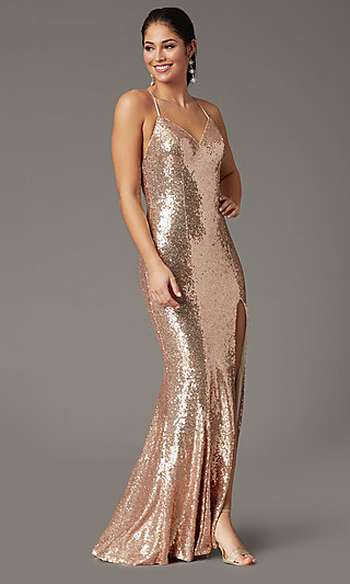 Sparkly Long Sequin Formal Prom Dress in Rose Gold