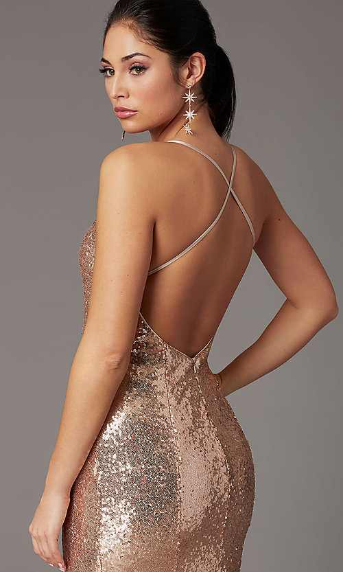 Image of sparkly long sequin formal prom dress in rose gold. Style: DQ-2919 Detail Image 1