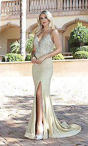 Image of long beaded-bodice formal prom dress in rose gold. Style: DQ-2922 Detail Image 2