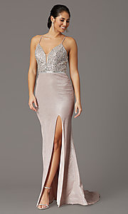 Image of long beaded-bodice formal prom dress in rose gold. Style: DQ-2922 Front Image
