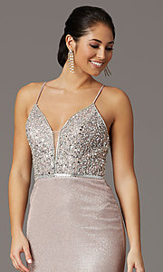 Image of long beaded-bodice formal prom dress in rose gold. Style: DQ-2922 Detail Image 1