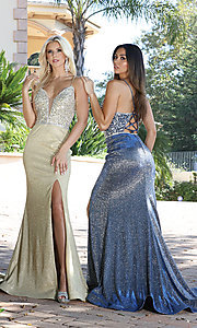 Image of long beaded-bodice formal prom dress in rose gold. Style: DQ-2922 Detail Image 5